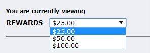 Rewards options