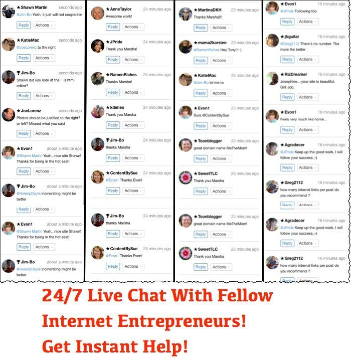screenshot of several members of wealthy affiliate in live chat asking and answering questions