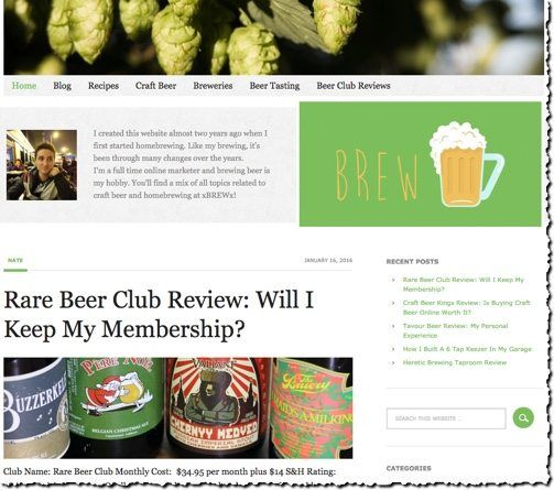 screenshot of niche website about the topic of brewing beer at home monetized with affiliate links