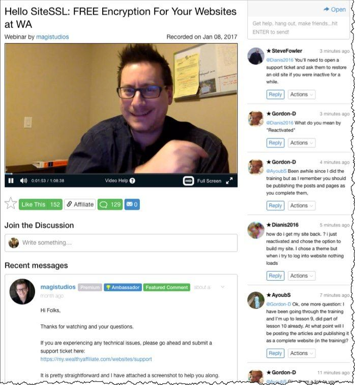 screenshot of live webinar on friday with live chat and webinar host. topic is free ssl encryption