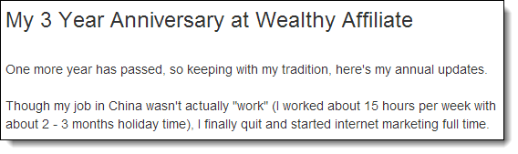screenshot of my 3-year anniversary post as a wealthy affiliate member