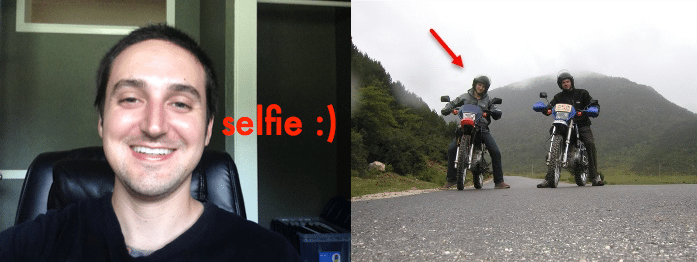 nathaniell brenes selfie split with separate image on motorcycle in lijiang china