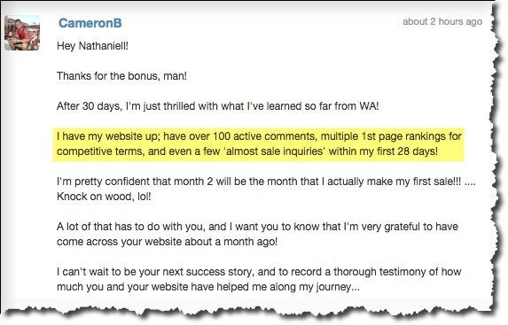 screenshot of member testimonial describing that they received first page rankings on their website within 28 days of joining Wealthy Affiliate
