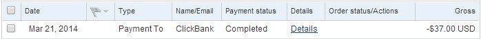 PayPal Reciept