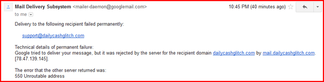 daily cash glitch email undelivered