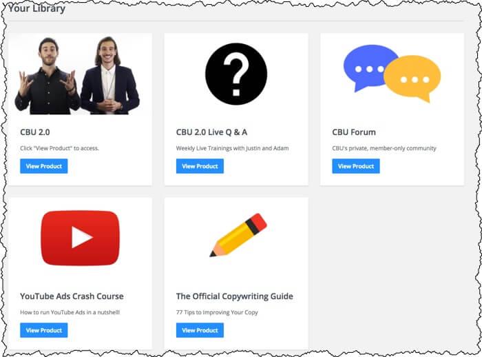 screenshot inside cbu members area including 5 areas of the website