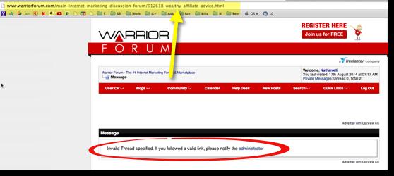 warrior forum thread deleted