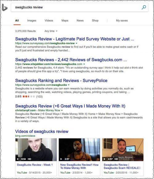 Swagbuck Bing Search