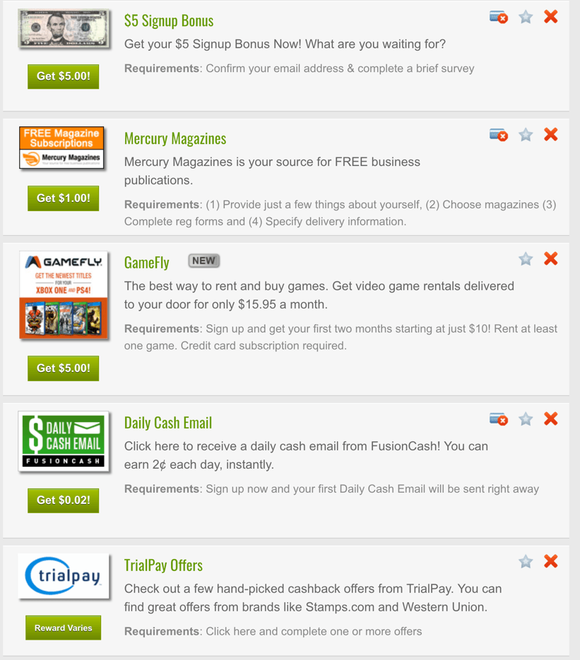 fusion cash trial offers screenshot