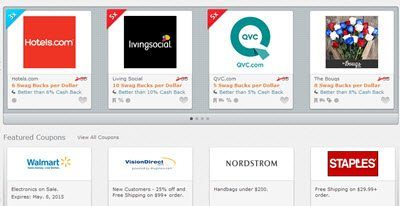 example of online shopping offers on swagbucks including hotels.com and qvc.com