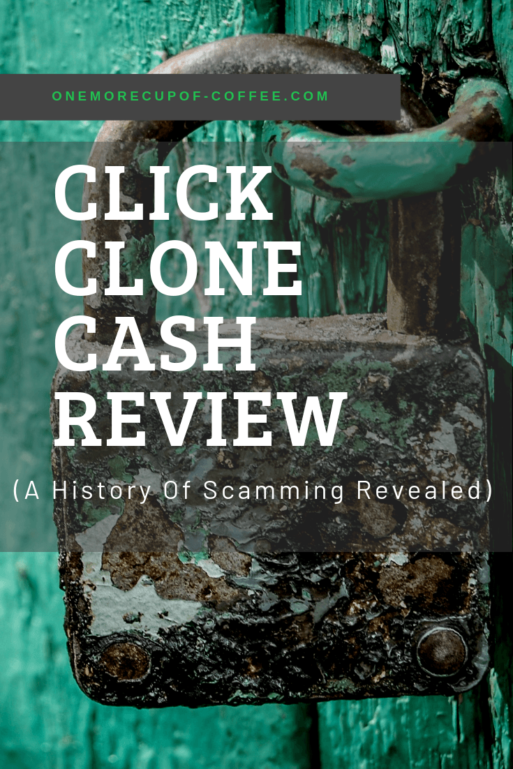 """old lock with blue door in background with the heading title, """"click clone cash review"""""""
