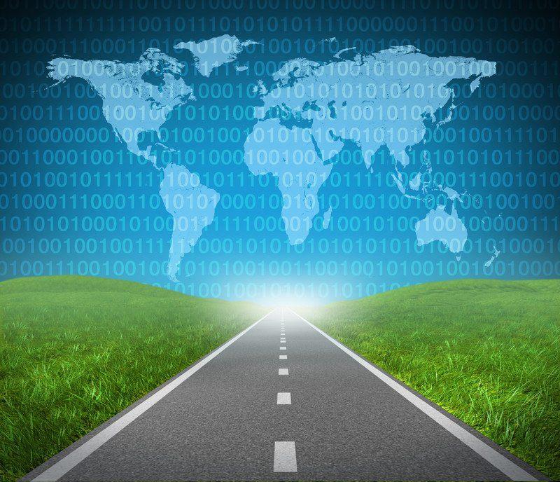 image digital road and world map representing digital affiliate programs