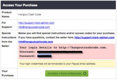 hangout cash code purchase