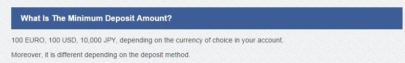 Minimum Deposit Amount