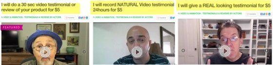 fiver testimonial reviews
