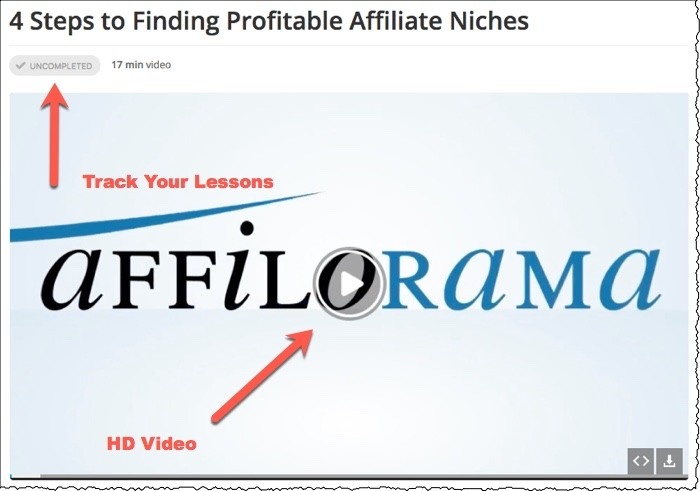 affilorama lessons video