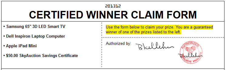 Winner Claim Form