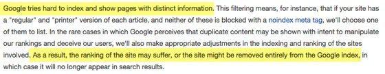 google rank duplicate content