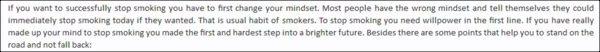stop smoking content