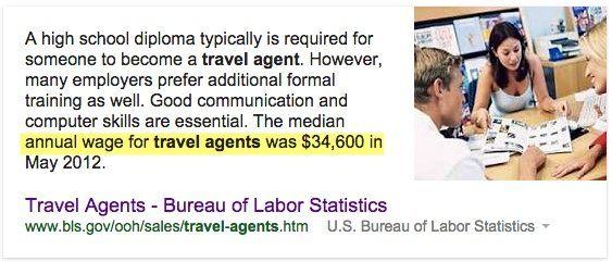 travel agent salary