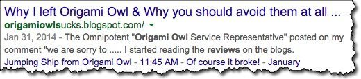 origami owl complaints