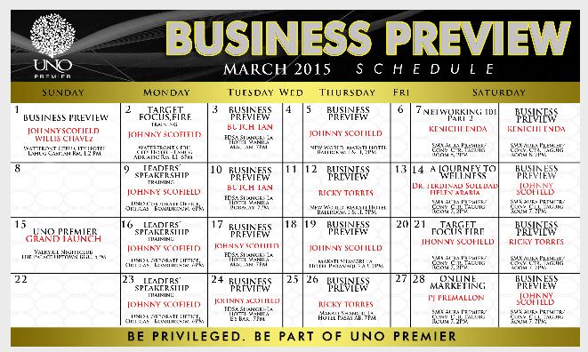 March 2015 Schedule