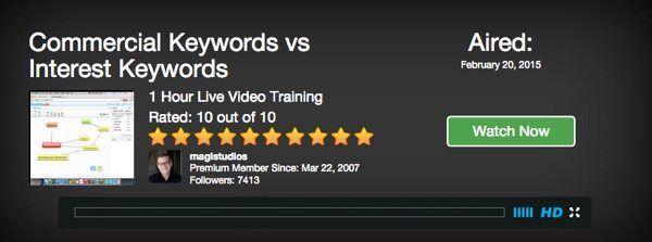 commercial keywords vs interest keywords