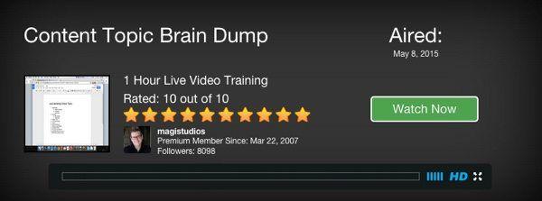 content topic brain dump