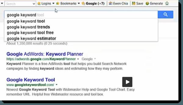 keyoword tool search