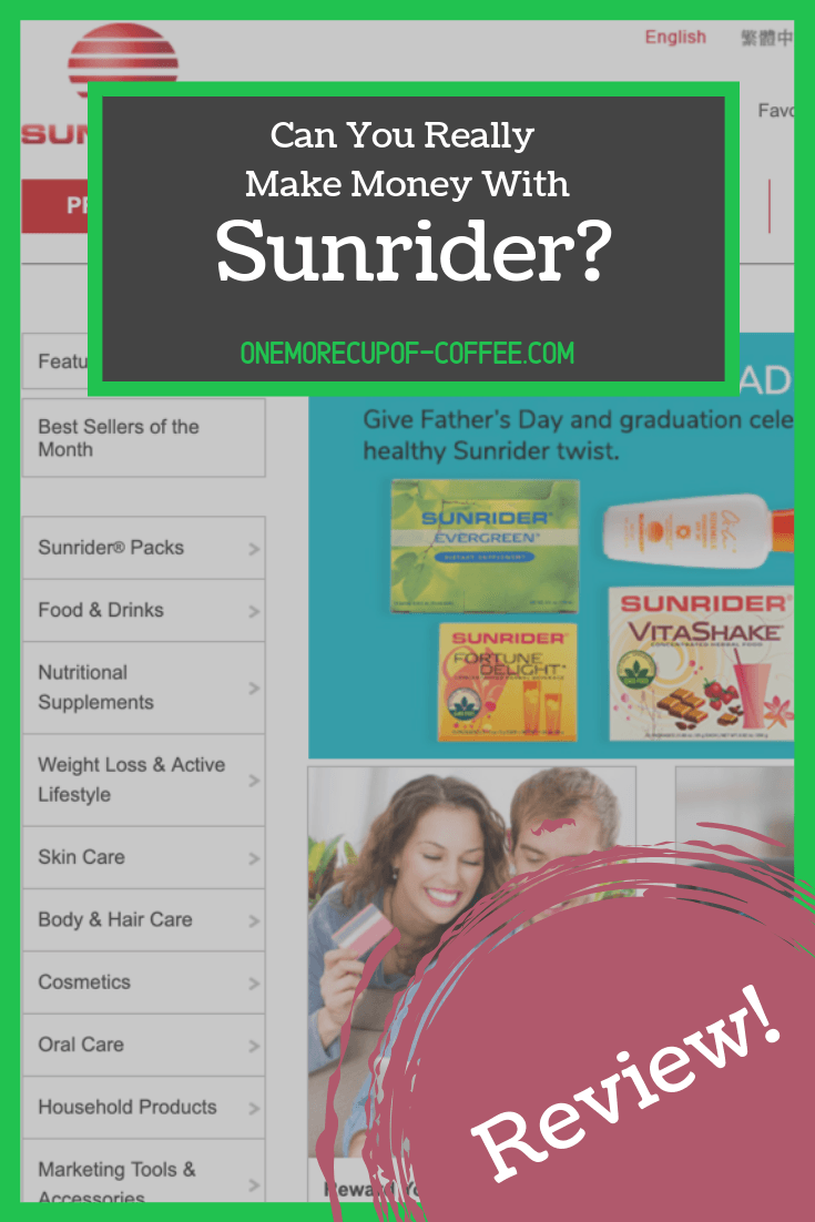 """sunrider website screenshot with overlay text, """"can you really make money with sunrider?"""""""