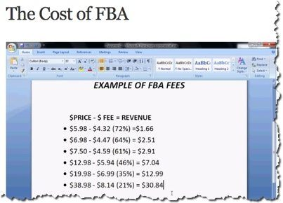 cost of FBA