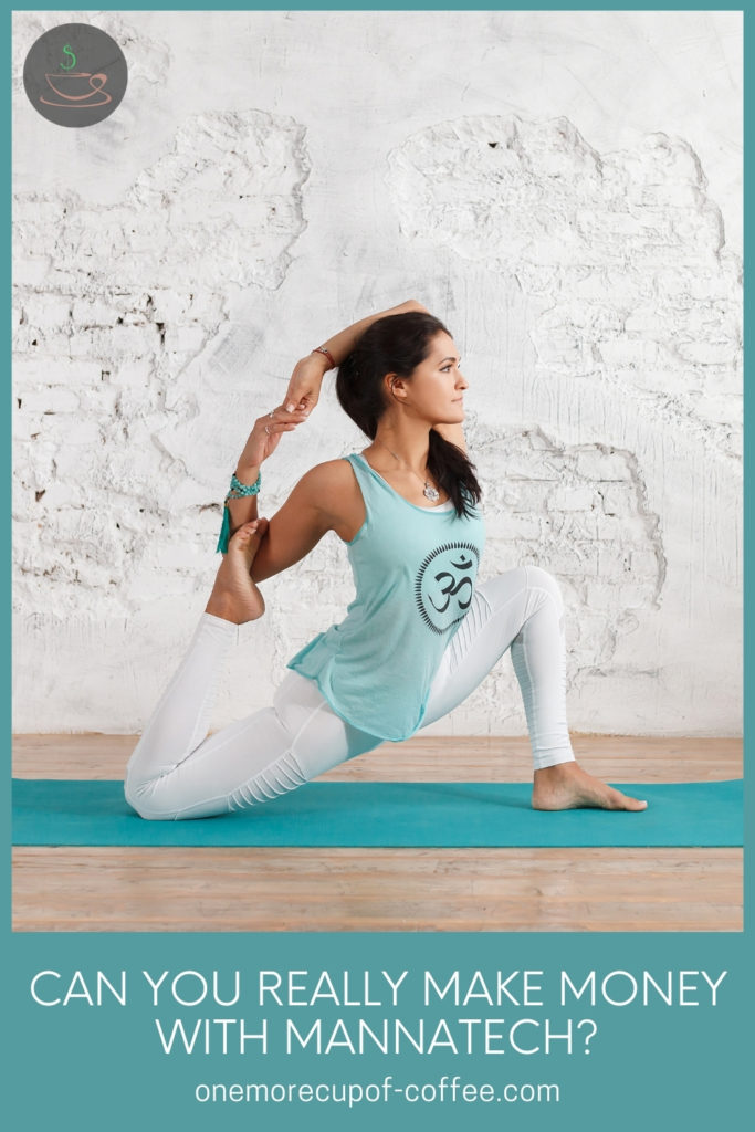 woman in workout clothes doing yoga poses on a blue-green yoga mat; with text overlay