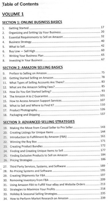 complete amazon makrketing system Vol 1 TOC