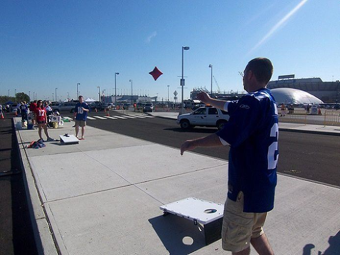 NFL tailgate party game of cornhole