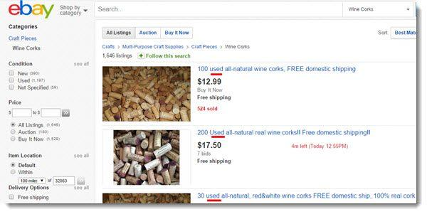 ebay wine corks for sale