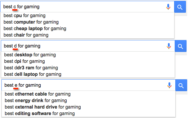 gaming keyword google searches
