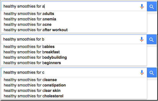 google instant searches food keywords