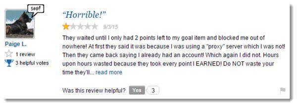 Negative Review for Points2Shop