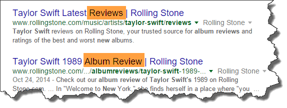 Album Review search results