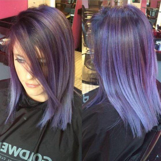 front and back view of woman with purple hair