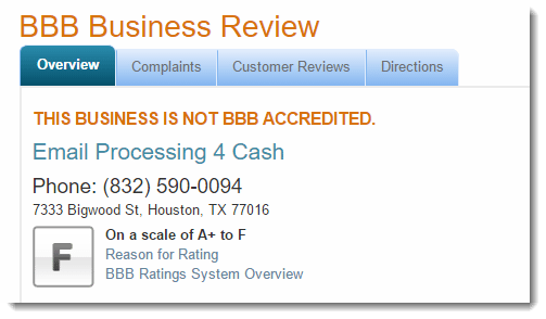 Better Business Bureau for email processing for cash