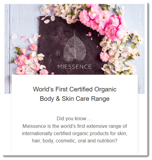 Miessence's claims about being the first organic range