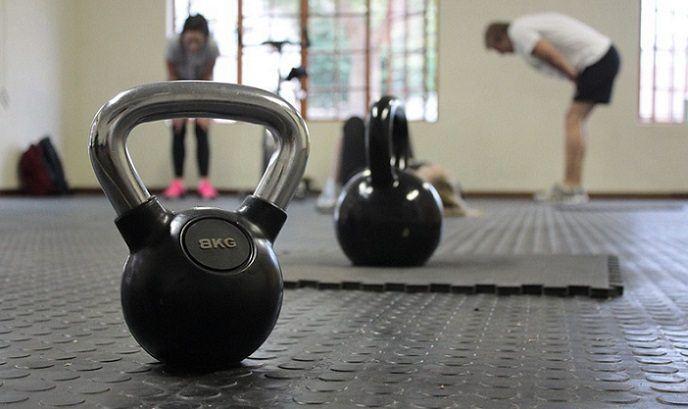 kettlebells on a gym floor