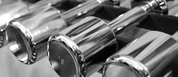 chrome dumbell weight rack