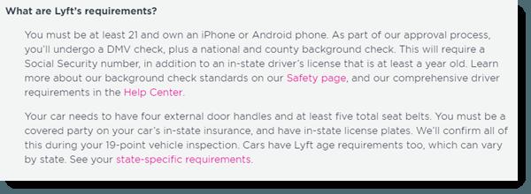 Lyft Requirements