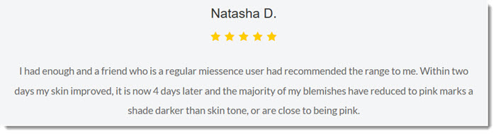 Positive Review on the Miessence Site