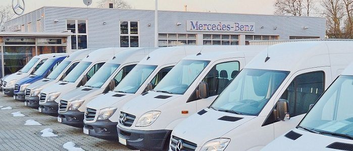 Mercedes-Benz dealership lot of vans