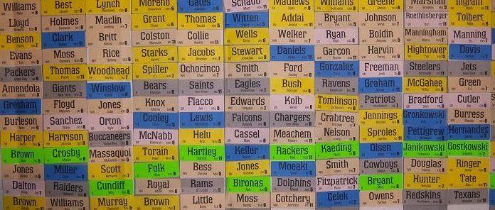 sports player names draft wall board