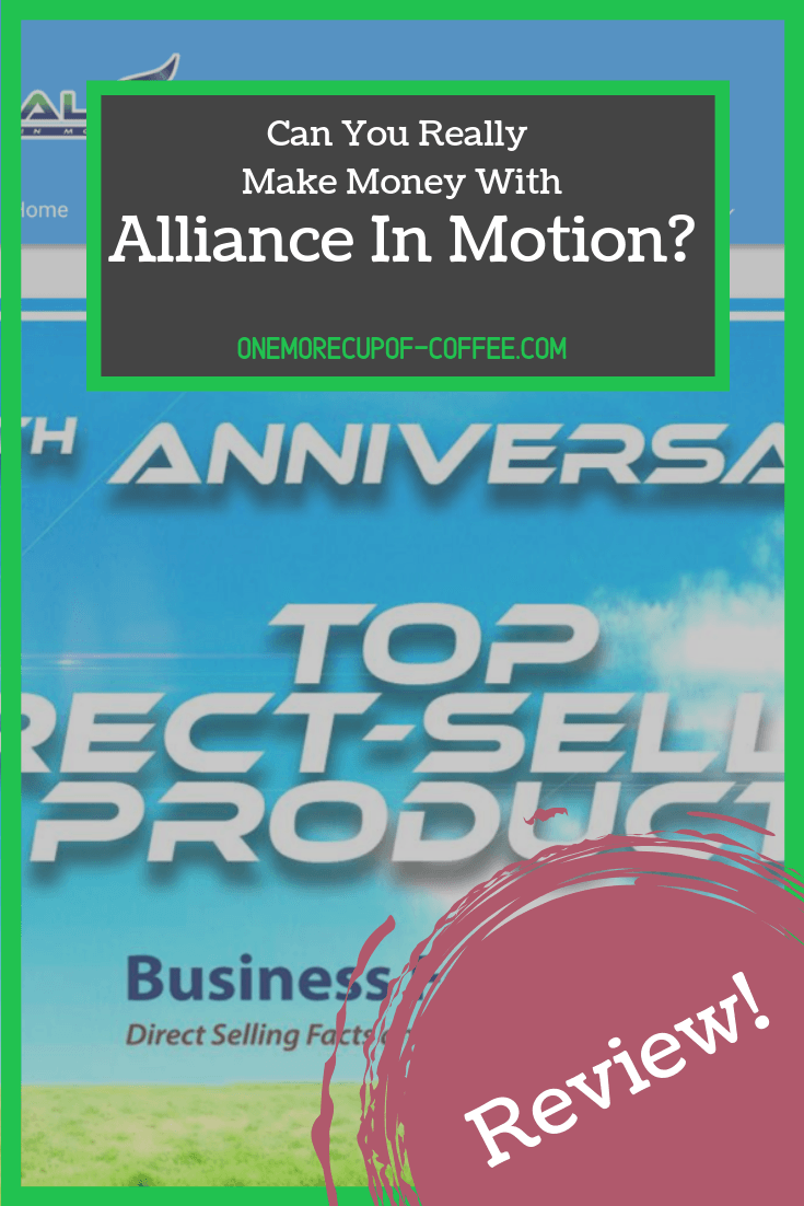 screenshot of alliance in motion home page that says,