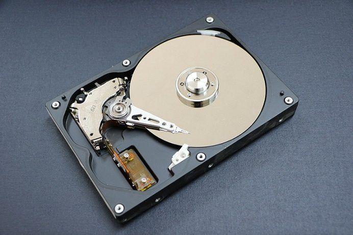 opened computer hard drive